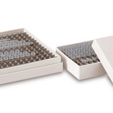 PCR cryogenic boxes made of cardboard 64 slots L85 x W85 x H25 mm