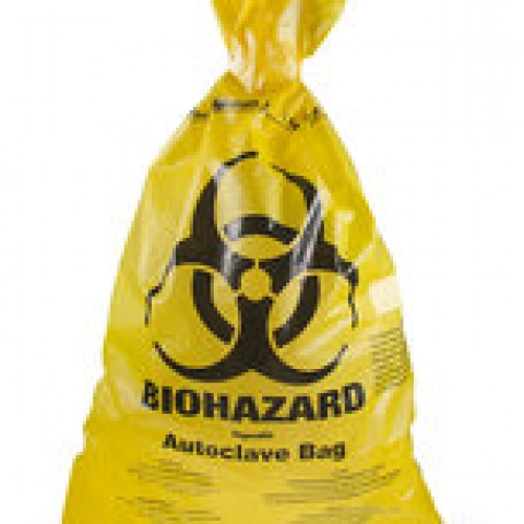 BIOHAZARD disposal bags HDPE, 50µm, yellow, W 300 x L 500 mm