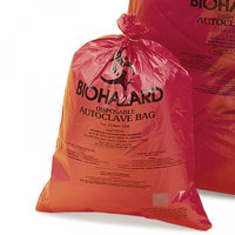Disposal bags with sterilisat. indicator imprinted Biohazard, 790 x 960 mm