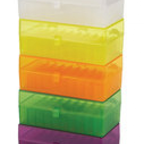 Cryo storage boxes, assorted colours PP, 50 slots